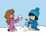 Coloring page Girls playing with snow painted byLornaAnia