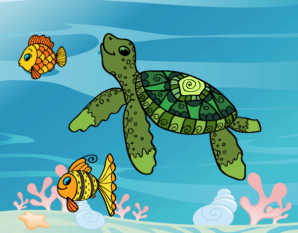 colored page sea turtle with fish painted by user not registered