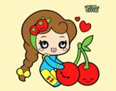 Coloring page Sweet Cherries painted byLornaAnia