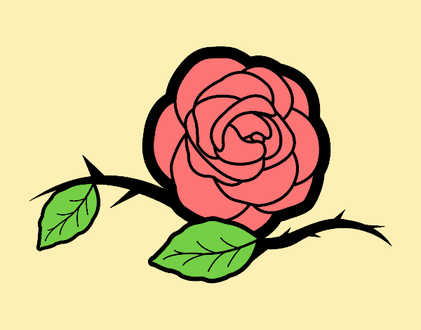Coloring page A beautiful rose painted byANIA2