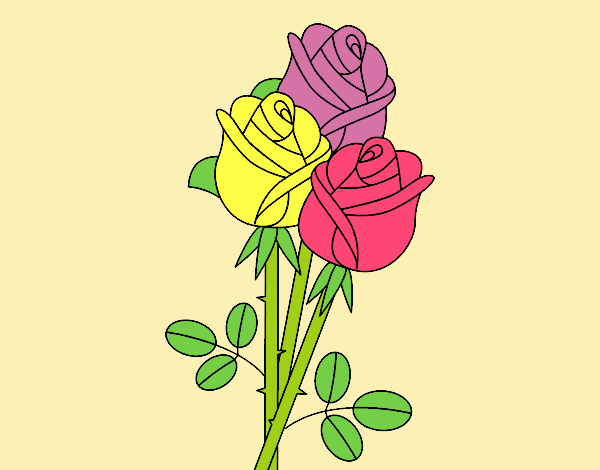 Coloring page A bouquet of roses painted byANIA2