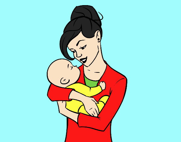 Coloring page Mother rocking her baby painted byANIA2