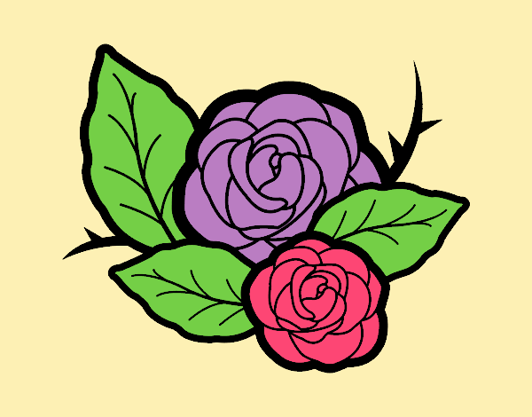 Coloring page Two roses painted byANIA2