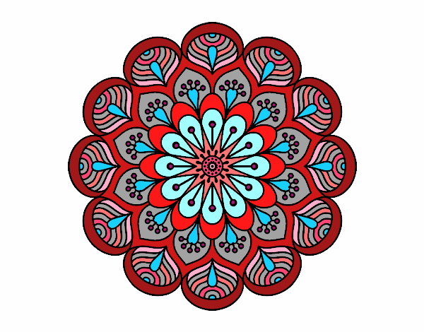 Coloring page Mandala flower and sheets painted bySofia_EC