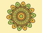 Coloring page Mandala solar painted byLornaAnia