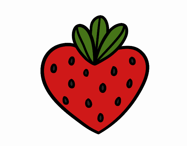 Coloring page Strawberry heart painted bycinthiasmo