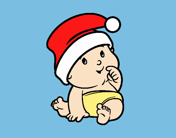 Colored page Baby with Santa Claus Hat painted by LornaAnia