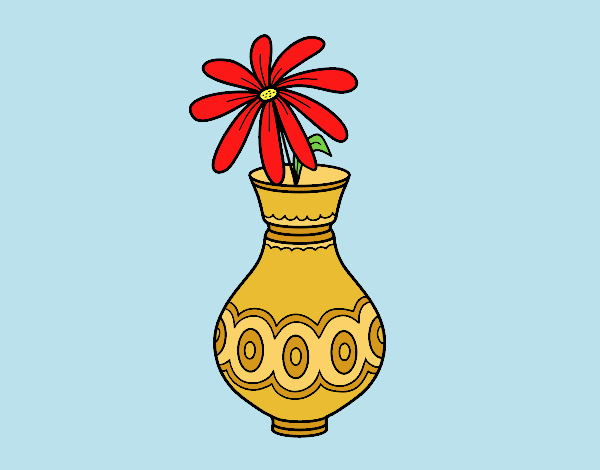 Coloring page A flower in a vase painted byLornaAnia
