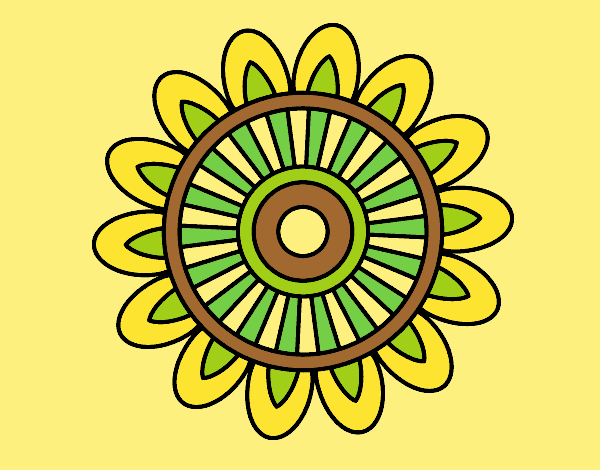 Coloring page Mandala solar painted byLornaAnia