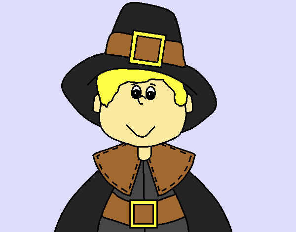 Colored Page Pilgrim Boy Painted By User Not Registered