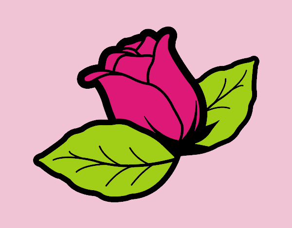 Coloring page Rose with leaves painted byJessicaB