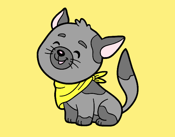 Coloring page Cat with kerchief painted byLornaAnia