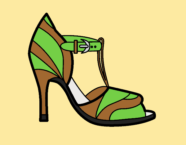 Coloring page High heel shoe with uncovered tip painted byJessicaB