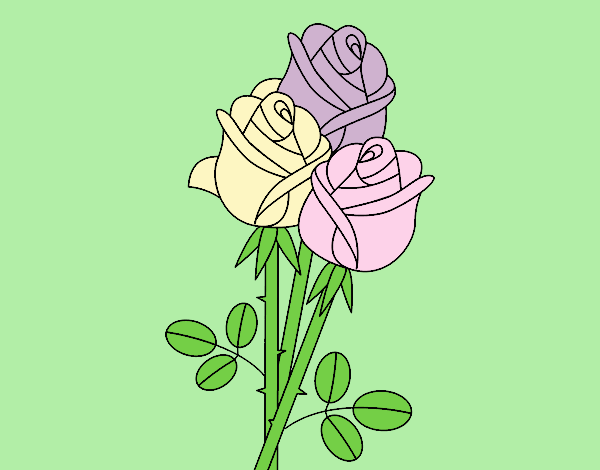 Coloring page A bouquet of roses painted byLornaAnia
