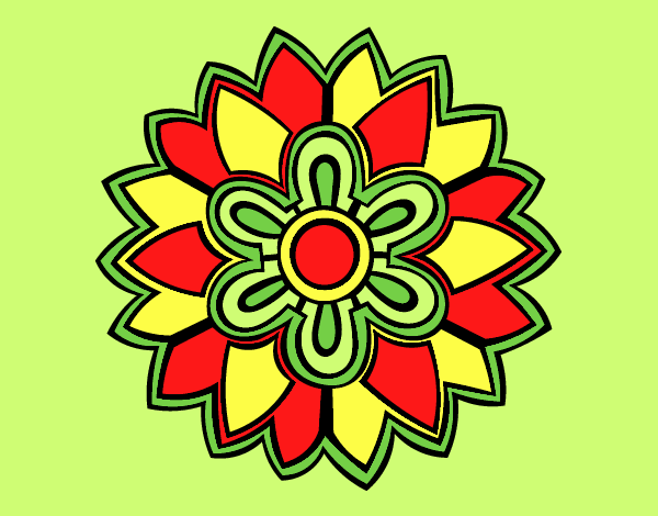 Coloring page Flower Mandala shaped weiss painted byLornaAnia