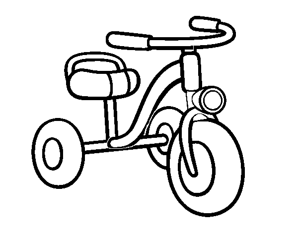 A children's tricycle coloring page