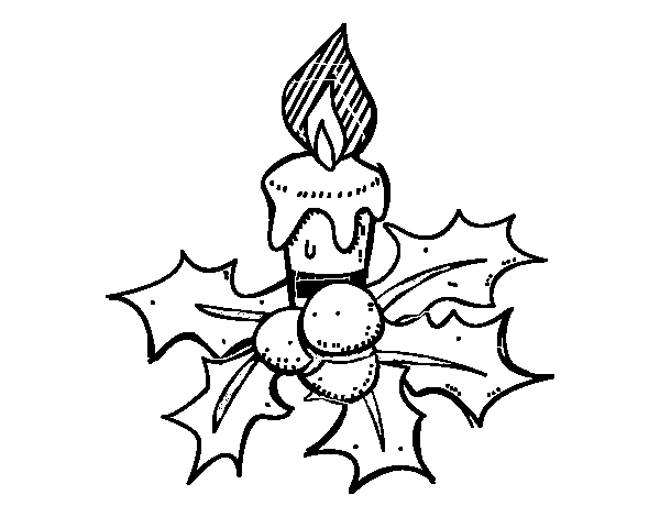 A Christmas Candle Coloring Page
