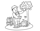 A farmer coloring page