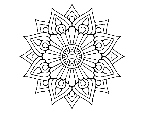 A floral flash mandala coloring page