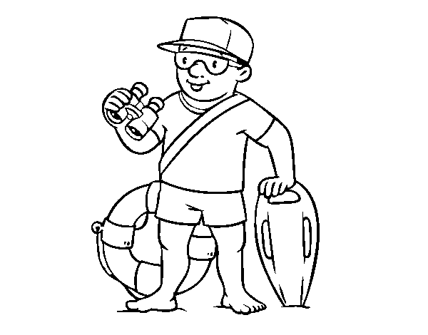 A lifeguard coloring page