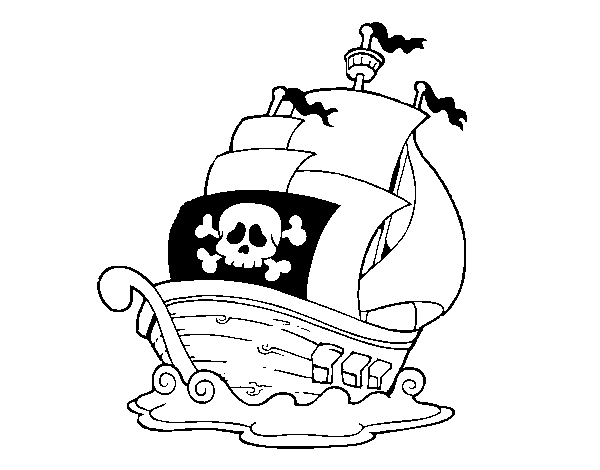 A pirate ship coloring page