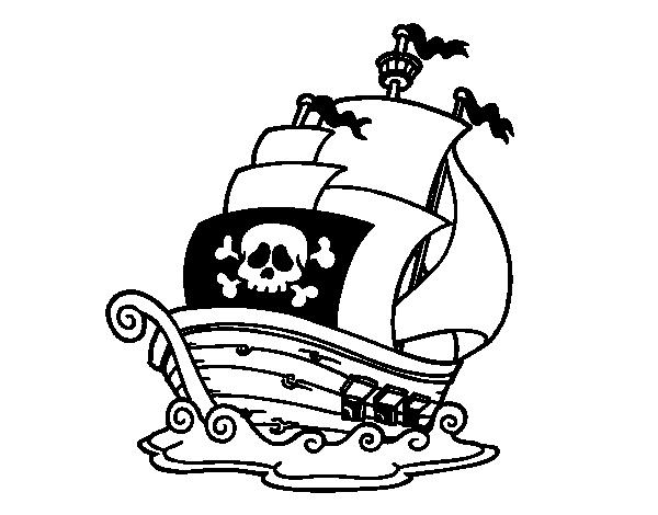 A pirate ship coloring page - Coloringcrew.com