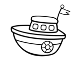 A toy boat coloring page
