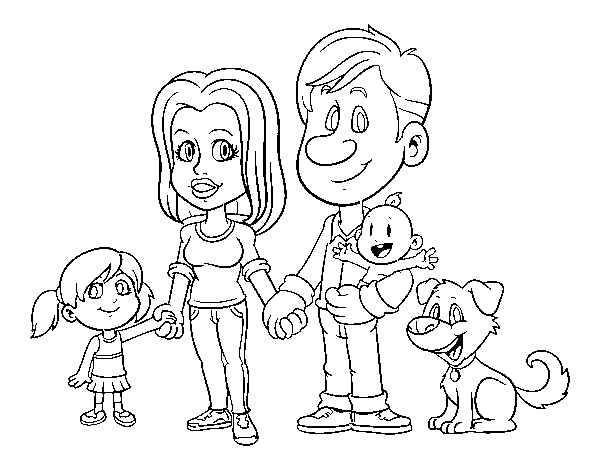 A united family coloring page