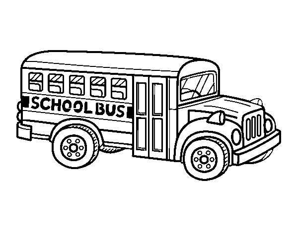 American school bus coloring page