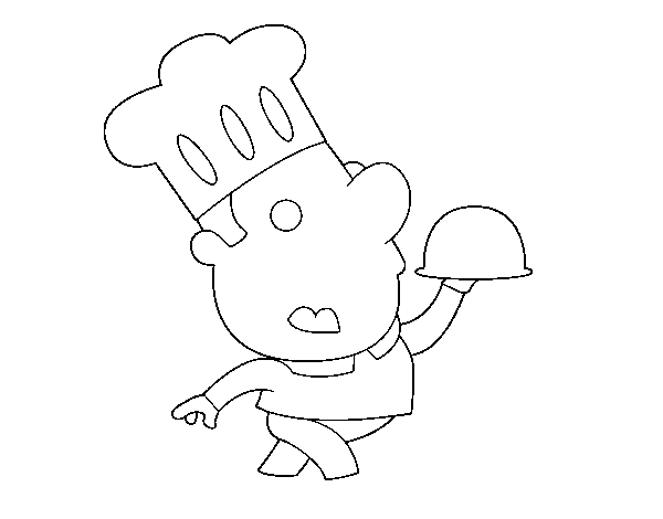 Amusing chef coloring page