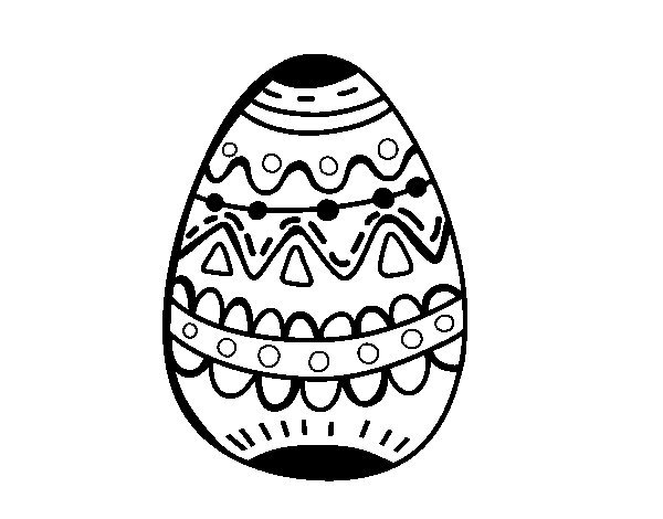 An easter egg decorated coloring page