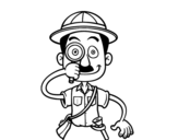 An explorer coloring page