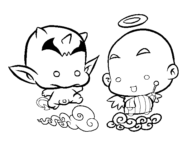 Angel or demon coloring page
