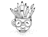 Animated cup with pencils coloring page