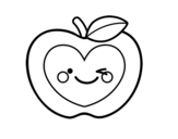 Apple heart coloring page