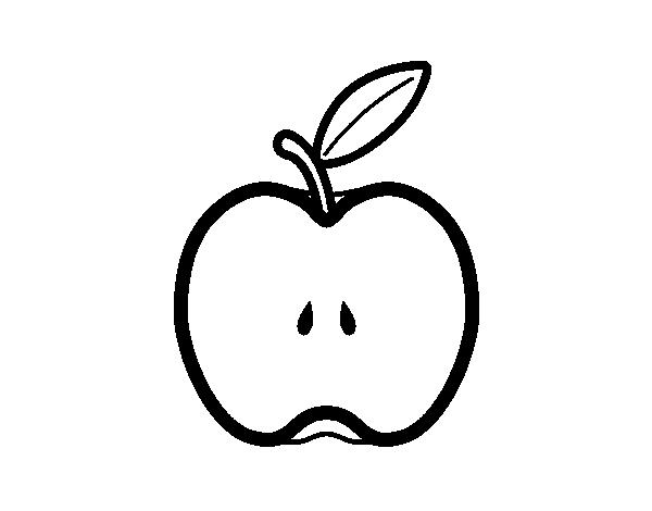 Apple in half coloring page - Coloringcrew.com