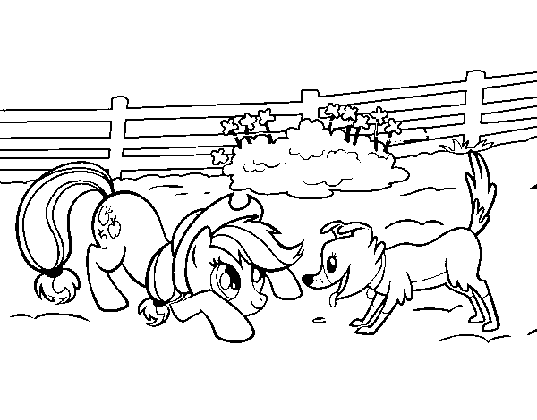 Applejack and Winona coloring page