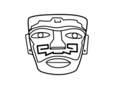 Aztec ancestral mask coloring page