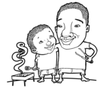 Barbecue with dad coloring page