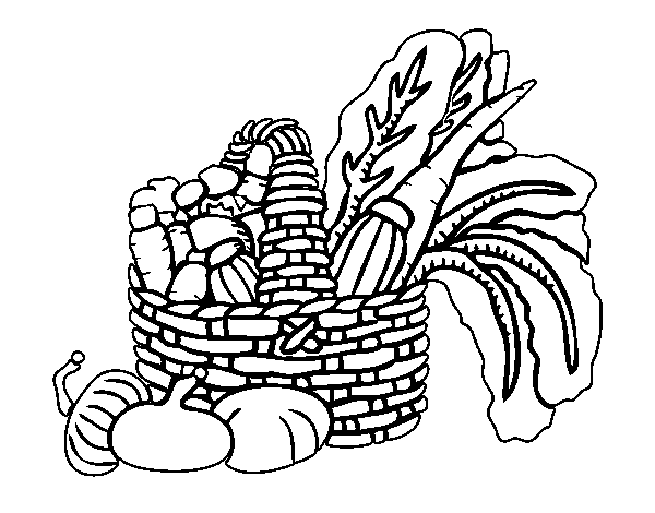 Basket Of Vegetables Coloring Page Coloringcrew Com