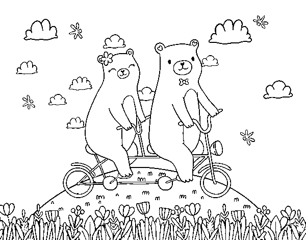 Bears love coloring page