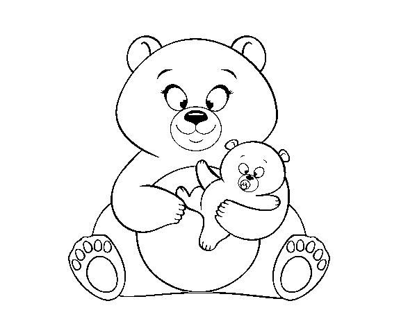 Bear's mother and her son coloring page