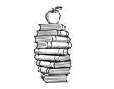 Dibujo de Books and apple