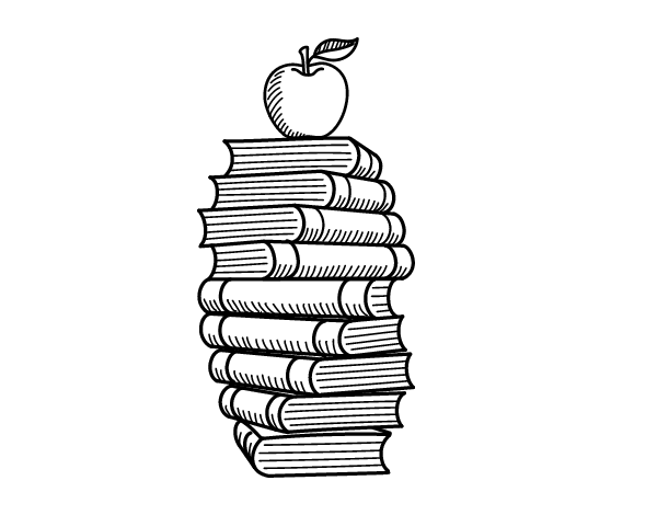 Books and apple coloring page - Coloringcrew.com