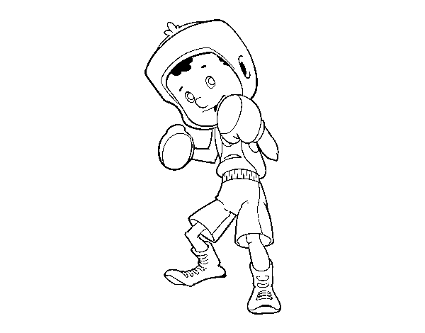 Boxer little boy coloring page