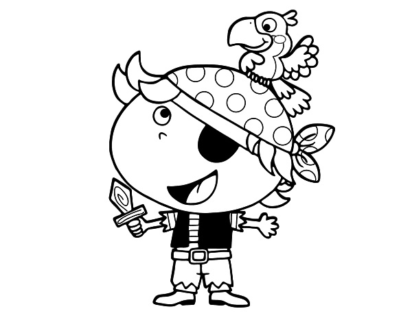 boy pirate with parrot coloring page coloringcrewcom