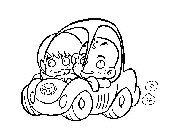 Boys driving coloring page