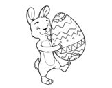 Bunny with huge Easter egg coloring page