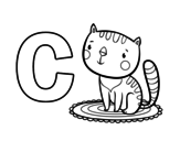 C of Cat coloring page