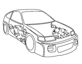 Car with flames coloring page